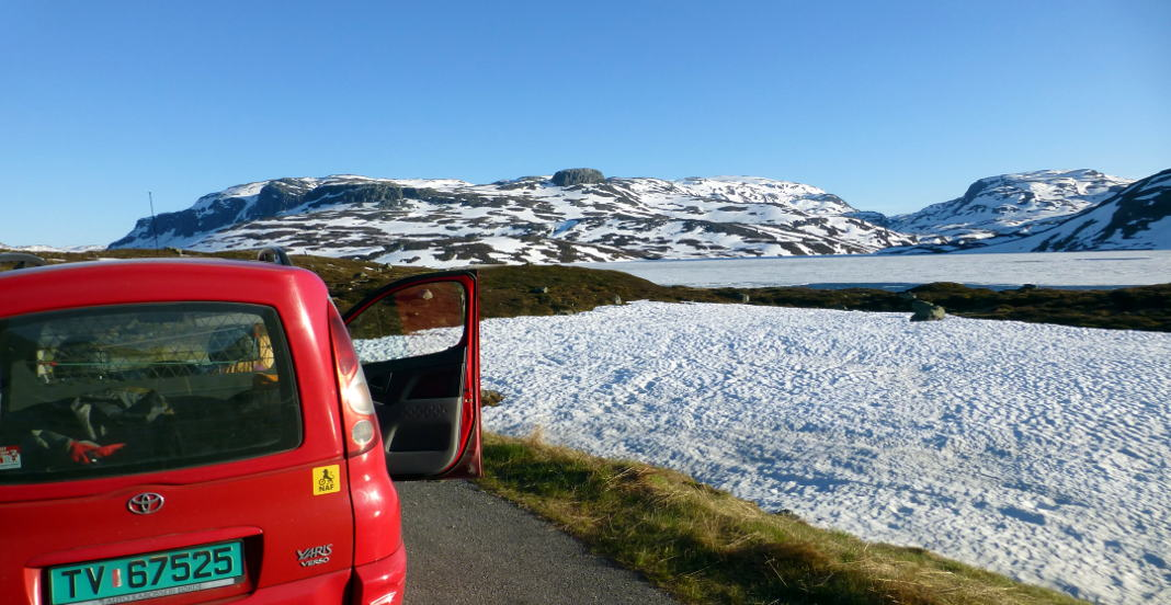 Roadtrip Norwegen Gebirge Schnee